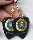 Horoscope Astrological Sign Aquarius Guitar Pick Earrings with Metallic Sunshine Swarovski Crystals