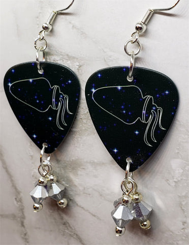 Horoscope Astrological Sign Aquarius Guitar Pick Earrings with Metallic Silver Swarovski Crystal Dangles