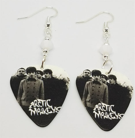 Arctic Monkeys Group Photo Guitar Pick Earrings with White Swarovski Crystals
