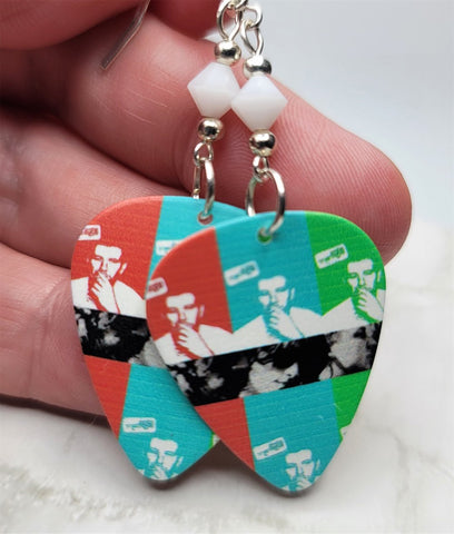 Arctic Monkeys Guitar Pick Earrings with White Swarovski Crystals