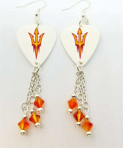 Arizona State University Sun Devils Guitar Pick Earrings with Fire Opal Swarovski Crystal Dangles