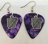 State of Arkansas Charm Guitar Pick Earrings - Pick Your Color