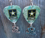 Army Camo I Love My Soldier Guitar Pick Earrings