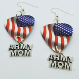 American Flag Army Mom Guitar Pick Earrings