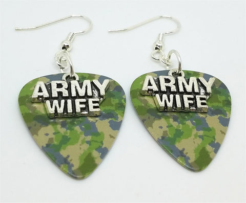 Army Wife Charm Guitar Pick Earrings - Pick Your Color
