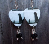 Asking Alexandria The Black Guitar Pick Earrings with Black Swarovski Crystal Dangles
