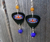 Auburn University Guitar Pick Earrings with Blue and Orange Pave Beads