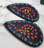 Aboriginal Style Dot Art Hand Painted FAUX Leather Teardrop Shaped Earrings