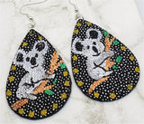 Australia Koala on a Branch Hand Painted FAUX Leather Teardrop Shaped Earrings