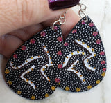 Aboriginal Style Art Hand Painted Kangaroo FAUX Pebble Effect Leather Teardrop Shaped Earrings