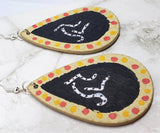 Aboriginal Style Art Hand Painted Kangaroo FAUX Leather Teardrop Shaped Earrings