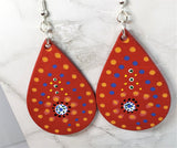 Aboriginal Style Dot Art Hand Painted on Red Real Leather Teardrop Shaped Earrings