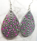 Aboriginal Style Dot Art Hand Painted Metallic Silver Real Leather Teardrop Shaped Earrings