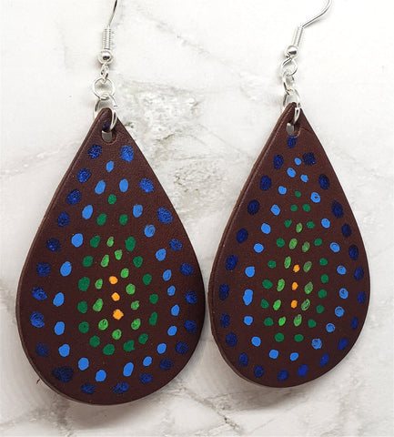 Aboriginal Style Dot Art Hand Painted Vegetable Tanned Real Dark Brown Leather Teardrop Shaped Earrings