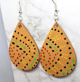 Aboriginal Style Dot Art Hand Painted Vegetable Tanned Real Tan Leather Teardrop Shaped Earrings