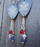 Avenged Sevenfold Love It or Die Guitar Pick Earrings with Swarovski Crystal Dangles