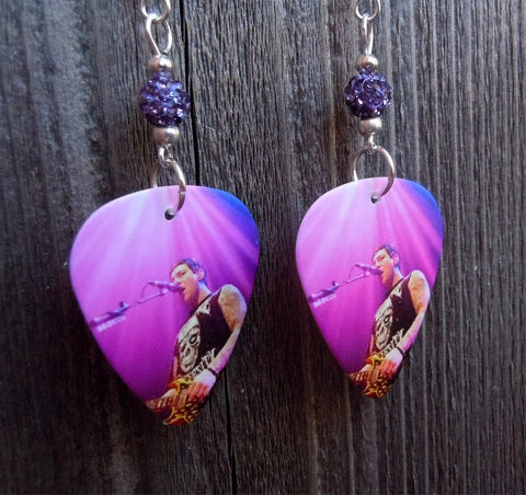 Avenged Sevenfold Zacky Vengeance Guitar Pick Earrings with Purple Pave Beads