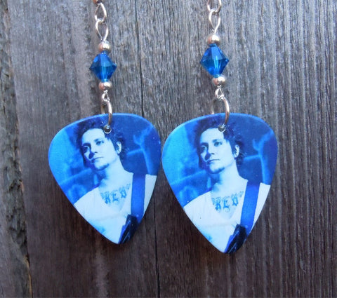 Avenged Sevenfold The Rev Guitar Pick Earrings with Blue Crystals