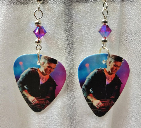 Avenged Sevenfold The Rev Guitar Pick Earrings with Fuchsia Crystals