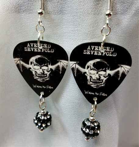 Avenged Sevenfold Waking the Fallen Guitar Pick Earrings with Black Striped Pave Bead Dangles