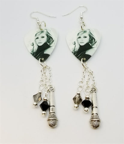 Black and White Avril Lavigne Photo Guitar Pick Earrings with Silver Charm and Swarovski Crystals Dangles