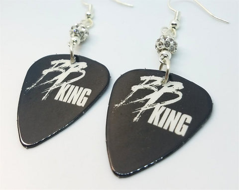 BB King Guitar Pick Earrings with White Pave Beads