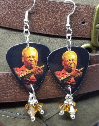 BB King Guitar Pick Earrings with Copper Swarovski Crystal Dangles