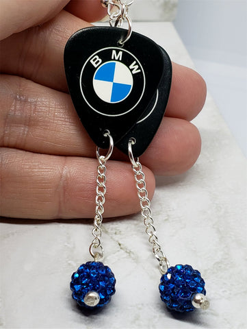 BMW Emblem Guitar Pick Earrings with Capri Blue Pave Bead Dangles