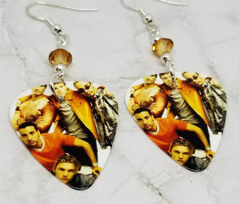 Backstreet Boys Guitar Pick Earrings with Golden Swarovski Crystals