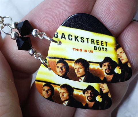 Backstreet Boys This is Us Guitar Pick Earrings with Black Swarovski Crystals