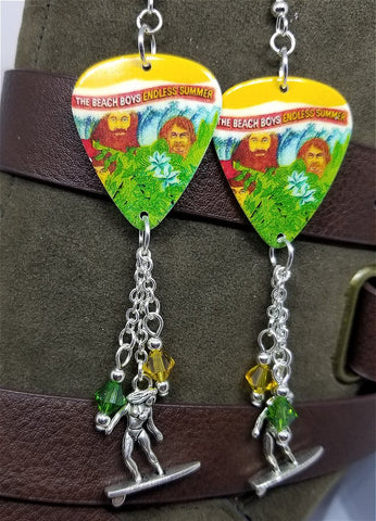 The Beach Boys Endless Summer Guitar Pick Earrings with Surfer Charms and Swarovski Crystal Dangles