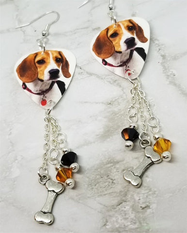 Beagle Guitar Pick Earrings with Bone Charm and Swarovski Crystal Dangles