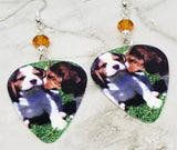 Beagle Puppies Guitar Pick Earrings with Topaz Swarovski Crystals