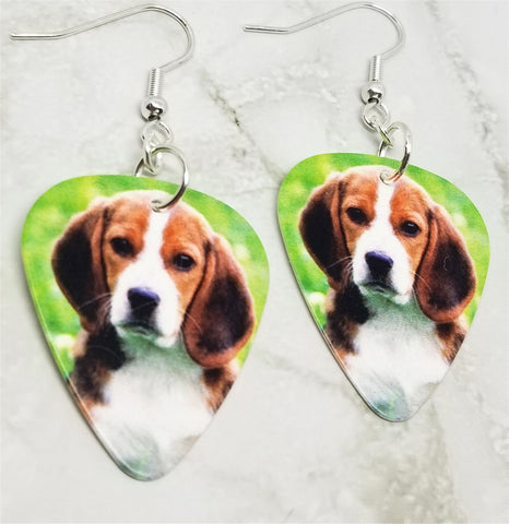 Beagle Guitar Pick Earrings