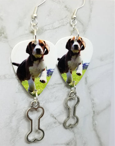 Beagle Puppy Guitar Pick Earrings with Bone Charm Dangles