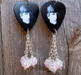 The Beatles Young Ringo Starr Guitar Pick Earrings with Studded White Rhinestone Beads