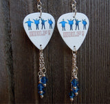 The Beatles Help Album Cover Guitar Pick Earrings with Blue Swarovski Crystal Dangles