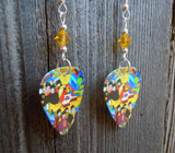 The Beatles Yellow Submarine Guitar Pick Earrings with Yellow Swarovski Crystals