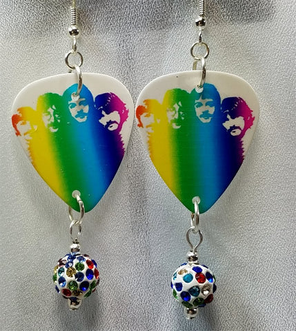 The Beatles in Rainbow Colors Guitar Pick Earrings with MultiColor Pave Bead Dangles