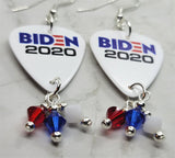 Biden 2020 Guitar Pick Earrings with Red, White and Blue Swarovski Crystal Dangles