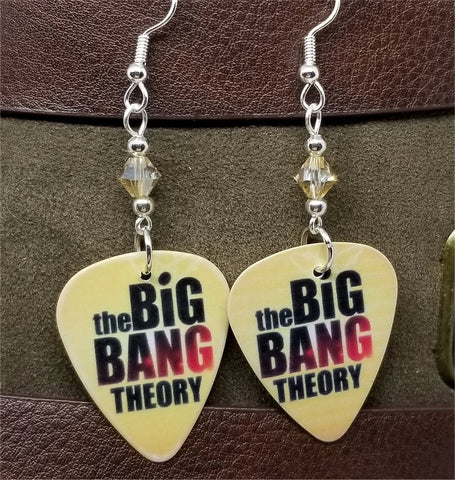 Big Bang Theory Guitar Pick Earrings with Tan Swarovski Crystals