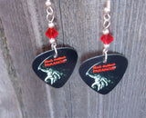 Black Sabbath Paranoid Guitar Pick Earrings with Red Swarovski Crystals
