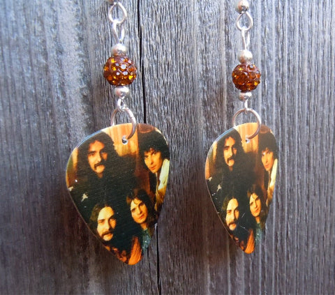 Black Sabbath Group Photo Guitar Pick Earrings with Brown Pave Beads