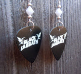 Black Sabbath Logo Guitar Pick Earrings with White Swarovski Crystals