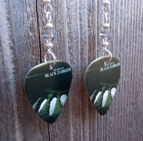 Black Sabbath The Best of Guitar Pick Earrings with Gray Swarovski Crystals
