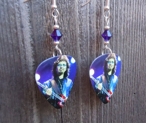 Black Sabbath Tony Iommi Guitar Pick Earrings with Purple Crystals
