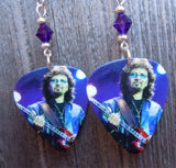 Black Sabbath Tony Iommi Guitar Pick Earrings with Purple Swarovski Crystals