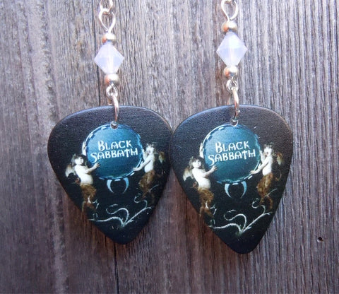 Black Sabbath Guitar Pick Earrings with Opal Swarovski Crystals