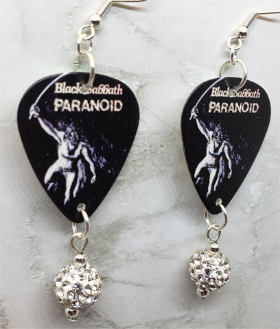 Black Sabbath Paranoid Guitar Pick Earrings with White Pave Bead Dangles