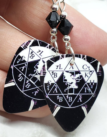Black Sabbath Guitar Pick Earrings with Black Swarovski Crystals